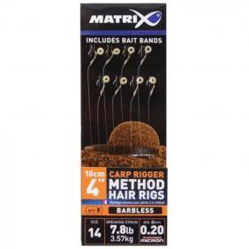 "FOX Matrix Carp Rigger Method Hair Rigs  Barbless -10cm/4"" 0.18mm x 8"