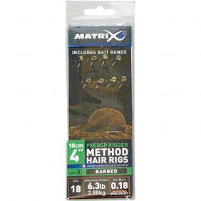 "FOX Matrix Feeder Rigger Method Hair Rigs Size 18 Barbed -10cm/4"" 0.18mm x 8"