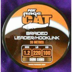 FOX Rage Catfish Braid Leader / Hooklink 1.2mm 100kg/220lb x 20m Dark Camo